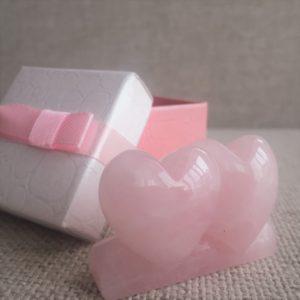 двойно сърце от розов кварц